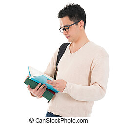 Asian adult student reading book