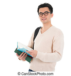 Asian adult student with books