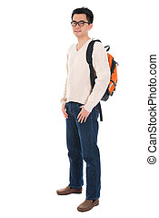 Asian adult student with schoolbag