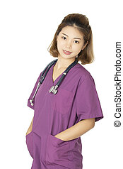 Asian American doctor or nurse posing isolated on white background