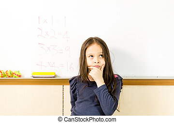 Asian American schoolgirl in class, thinking about math