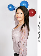 Asian american with balloons