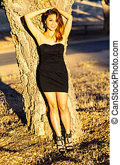 Asian American Woman Black Dress Outdoors Skinny