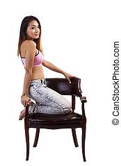 Asian American Woman Jeans Pink Sports Bra
