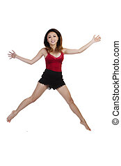Asian American Woman Jumping Against White Background