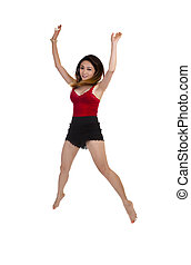 Asian American Woman Jumping Red Top Shorts