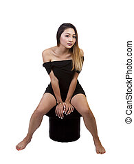 Asian American Woman Little Black Dress Sitting