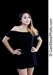 Asian American Woman Little Black Dress Standing
