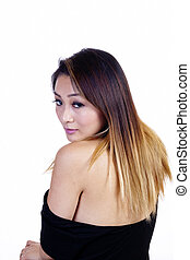 Asian American Woman Looking Back Bare Shoulders