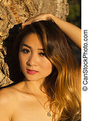Asian American Woman Outdoors Portrait Bare Shoulders