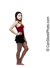 Asian American Woman Standing Against White Background
