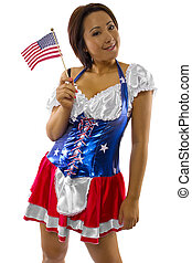 young asian female with american flag and costume