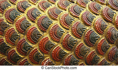 Asian ancient golden giant snake scale pattern