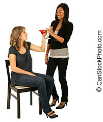 Asian And Caucasian Girls Toasting