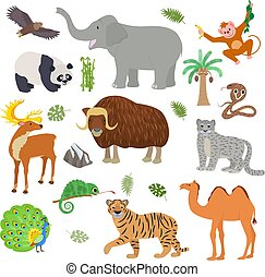 Asian animal vector animalistic wild character tiger camel...