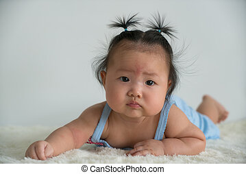 Asian baby gril. - Four month old baby girl.
