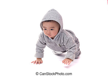 Asian baby in gray jacket with a hood, isolated on white background