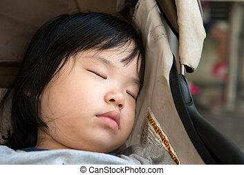 Asian baby sleeping in stroller