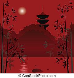 Asian background - Magic asian lake with sunset background...