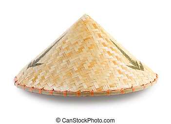Asian bamboo conical hat isolated on white background