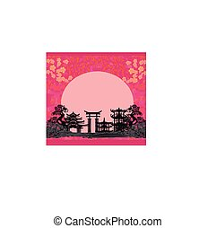 Asian beautiful landscape - abstract floral card