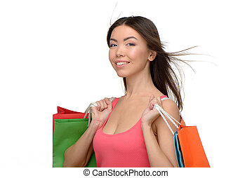 Asian beautiful woman after shopping with bags