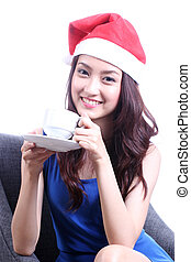 Asian Beautiful woman drinking the coffee.