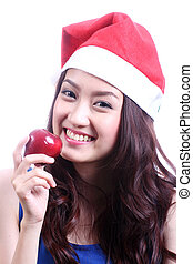 Asian Beautiful woman eating apple