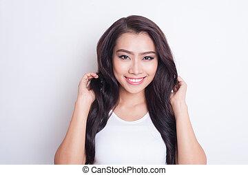 Asian beautiful woman skin care