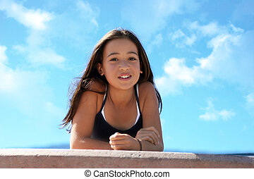 Asian beauty - Asian teen girl against the sky
