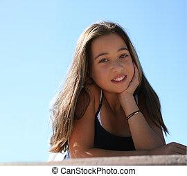 Asian beauty - Asian teen girl against the sky