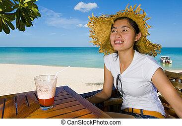 asian beauty at the beach