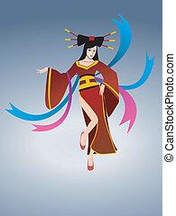 asian beauty dancing vector