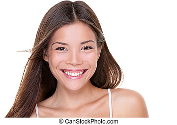 Asian beauty happy healthy Chinese woman smiling