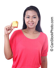 Asian beauty holding gift box, portrait on white background.