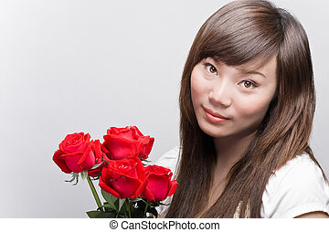 asian beauty with roses