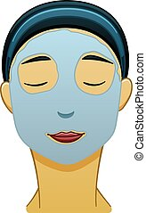 Asian black-haired woman with blue face mask