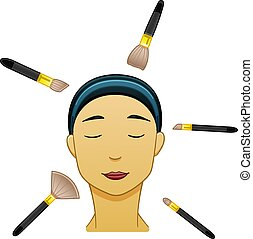 Asian black-haired woman with make up brushes