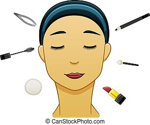 Asian black-haired woman with make up tools