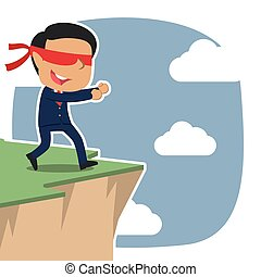 Asian blindfolded businessman walking to cliff edge
