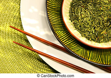 Asian bowls filled with herbs