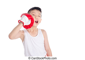 boxer boy punching his face over white background