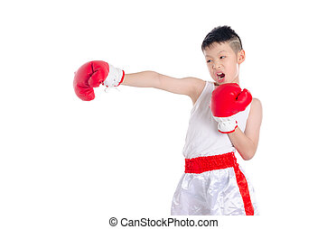 boxer boy punching over white background
