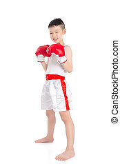 boxer boy standing over white background