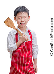 Asian boy chef with his flipper isolated on white background