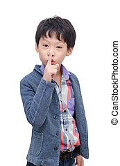 boy doing a gesture quiet