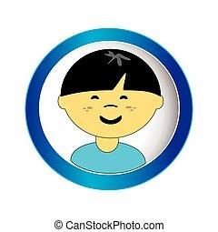 asian boy face with short hair in circular frame