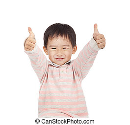 asian boy giving you thumbs up isolated on white background