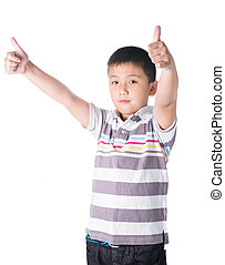 Asian boy giving you thumbs up over white background, isolated