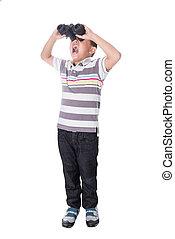 Asian boy holding binoculars, isolated on a white background